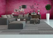 Modern living room interior with a comfortable upholstered lounge suite, houseplants, an overlay par