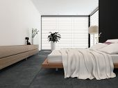 Modern bedroom interior with black and white decor with an adjustable bed and freestanding standard