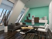 Modern living room interior with sloping windows and ceiling and a green accent wall with parquet fl