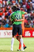 Sisaket Thailand-may 28: Lucas Daniel Of Sisaket Fc. (green) In Action After The End Of The Match Be