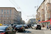 Traffic Congestion On Tverskaya Street In Moscow