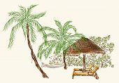 Two Deck Chairs Under The Palms With Hammock