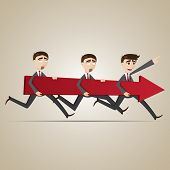 Cartoon Businessmen Carry Red Arrow