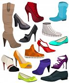 Women's fashion collection of shoes. Set with different shoes.