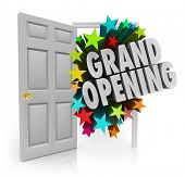 Grand Opening words open door to invite customers new store or business sale or event