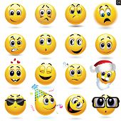stock photo of sad christmas  - Vector set of smiley icons with different face expression - JPG