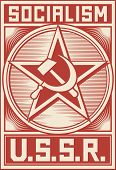 stock photo of hammer sickle  - Soviet Propaganda Poster  with hammer and sickle - JPG