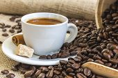 Fresh Espresso In White Cup With Lump Sugar, Cinnamon And Roasted Coffee Beans