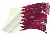 waving Qatar grunge flag. A waving flag of qatar with a grunge texture