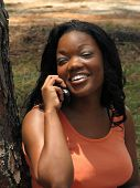 African American Female On A Cell Phone