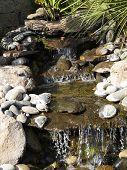 Manmade Rock Waterfall Fountain Pond Outdoors Moss