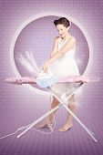 Retro Pin-up Lady Doing Ironing In 50S Fashion