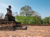 Broken Ancient Buddha At Kamphaengphet Historical Park, Thailand