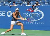 Professional tennis player Andrea Petkovic from Germany practices for US Open 2013