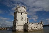LISBON, PORTUGAL - MAY 28, 2014: The Belem Tower in Lisbon. The tower was built in the early 16th ce