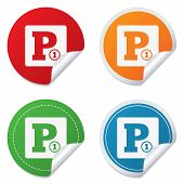 Paid parking sign icon. Car parking symbol.