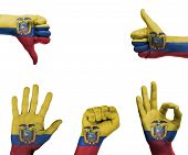 Hand Set With The Flag Of Ecuador