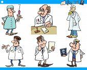 Cartoon Medical Staff Characters Set