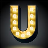 Realistic dark lamp alphabet for light board. Vector illustration of bulb lamp letter u
