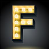 Realistic dark lamp alphabet for light board. Vector illustration of bulb lamp letter f