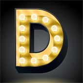 Realistic dark lamp alphabet for light board. Vector illustration of bulb lamp letter d
