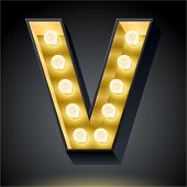 Realistic dark lamp alphabet for light board. Vector illustration of bulb lamp letter v