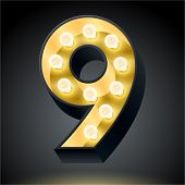 Realistic dark lamp alphabet for light board. Vector illustration of bulb lamp number 9