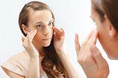 Mimic wrinkles ,signs of skin aging.