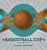 Vector Basketball Emblem with Geometric Background.