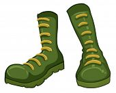 Illustration of a pair of green boots on a white background