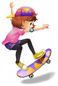 stock photo of skateboard  - Illustration of an energetic young woman skateboarding on a white background - JPG