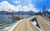 Highway and skylines in modern HongKong city