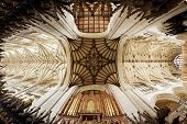 Winchester, Hampshire, UK - May 15, 2014: Fish-eye view of the vaulted ceiling and the organ at Winc