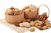 Sweet Sugar Cookies In Wooden Containers With Cinnamon Sticks, Almonds, Anise Asterisks