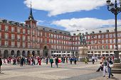 MADRID, SPAIN - MAY 28, 2014: Plaza Mayor and tourist, Madrid city centre