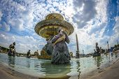Low Angle View Of Fountain At Place De La Concord In Paris