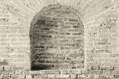 Old Brick Wall Beige Color With A Arch In Niche