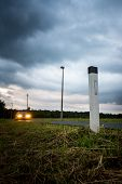 Illuminated Pole On Roadside