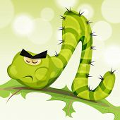 foto of caterpillar cartoon  - Illustration of a funny cartoon green caterpillar worm character eating and chewing a leaf of salad on green nature abstract background - JPG