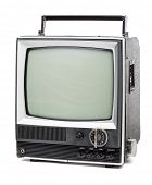 picture of televisor  - Vintage portable TV set on white background - JPG