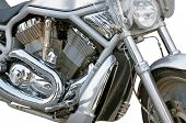 stock photo of crotch-rocket  - the motorcycle chrome metal grille isolated on a white background - JPG