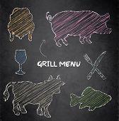 Grill menu pig cow fish chicken blackboard chalkboard color vector