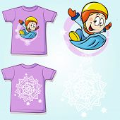 Kid Shirt With Winter Sportsmen On Sled Printed - Back And Front View