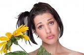 Quirky Funny Portrait Of Lady With Sunflower