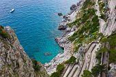 image of twisty  - Capri island famous road Via Krupp on the mountains - JPG