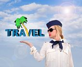Stewardess Holding Travel Symbol
