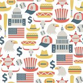 seamless pattern with USA icons