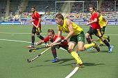 THE HAGUE, NETHERLANDS - JUNE 2: Simon Orchard (AUS) lifts the ball, entering the Spanish circle whi