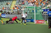 THE HAGUE, NETHERLANDS - JUNE 1: German player Wesley scores the 4-0 during the Hockey World Cup 201