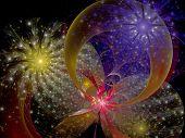 Symmetrical Colorful Fractal Flower, Digital Artwork